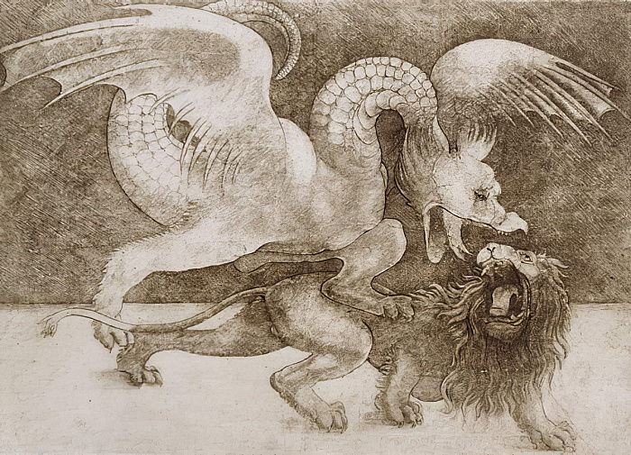 Fight between a Dragon and a Lion (pen and ink on paper) (print) by Leonardo da Vinci