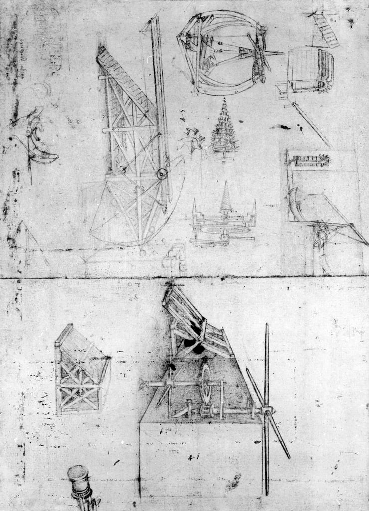Machinery designs, fol. 394v (pen and ink on paper) by Leonardo da Vinci