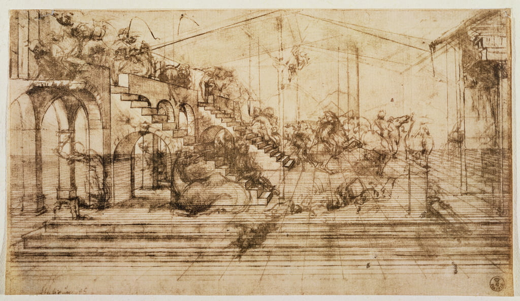 Perspective Study for the Background of The Adoration of the Magi (pen and ink on paper) by Leonardo da Vinci