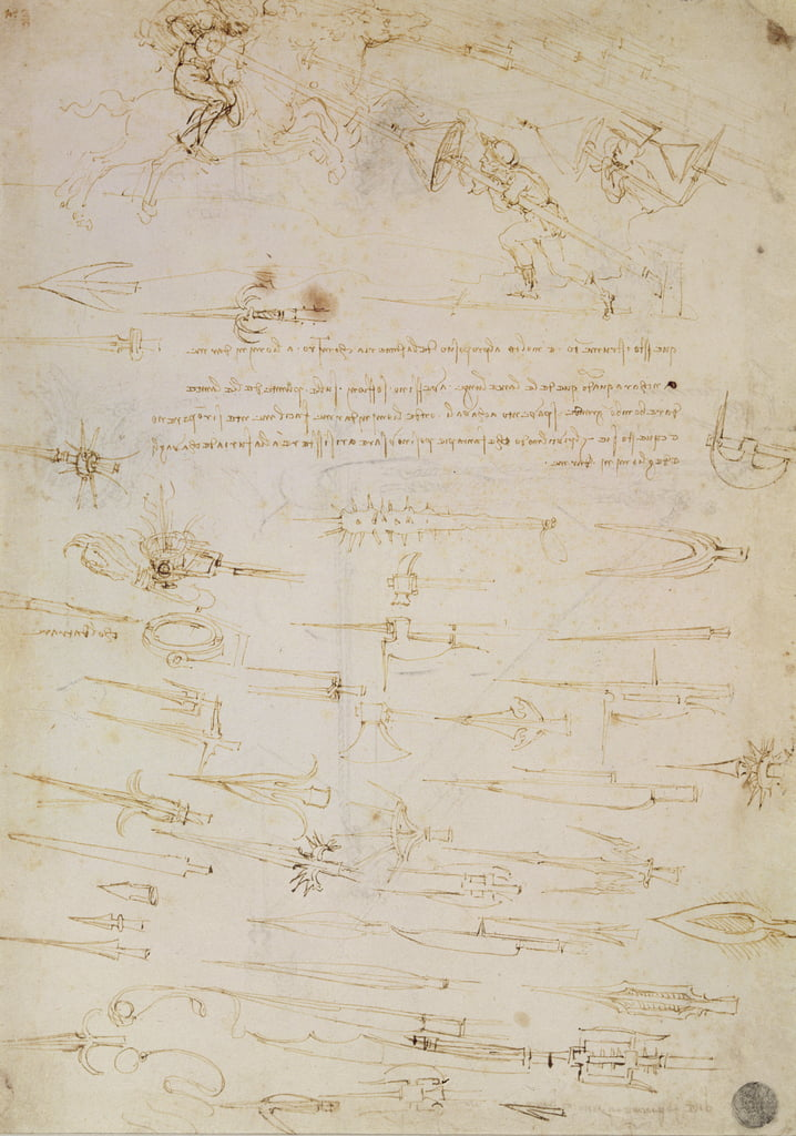 Sheet of studies of foot soldiers and horsemen in combat, and halbards, 1485-1488 (pen and ink on paper) by Leonardo da Vinci