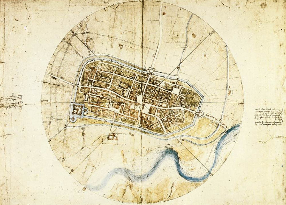 Town plan of Imola by Leonardo da Vinci