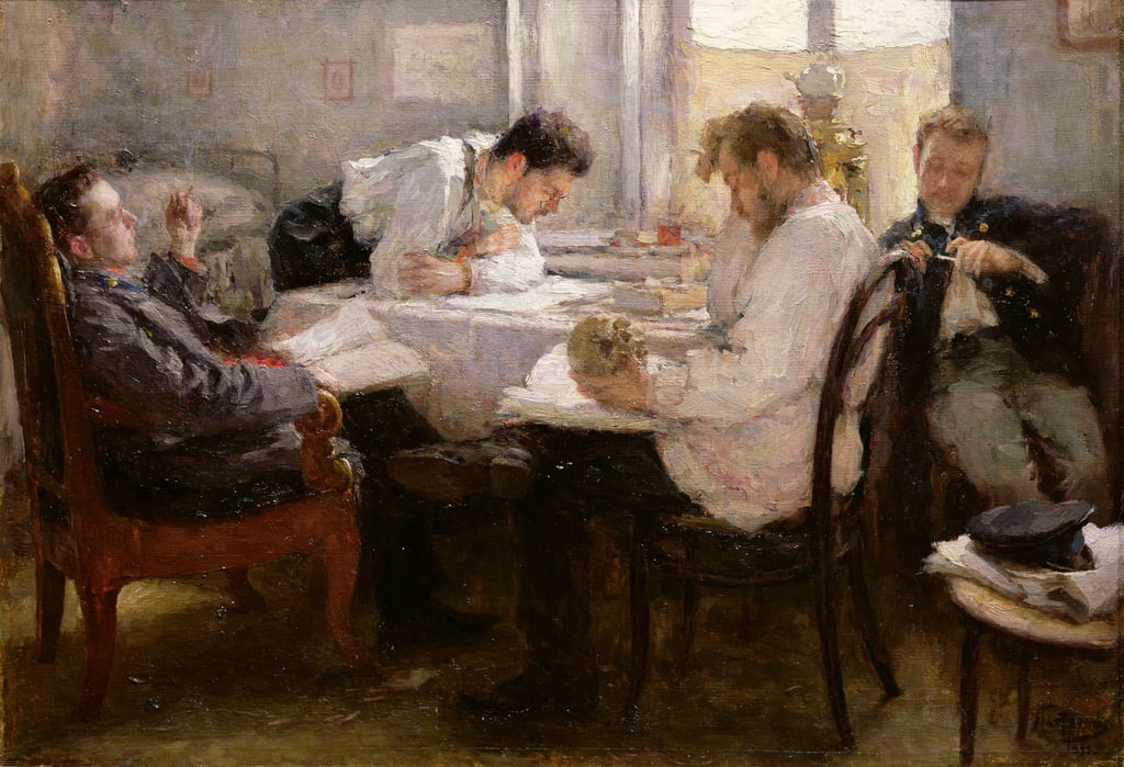 The Night before the Exam, 1935  by Leonid Osipovic Pasternak