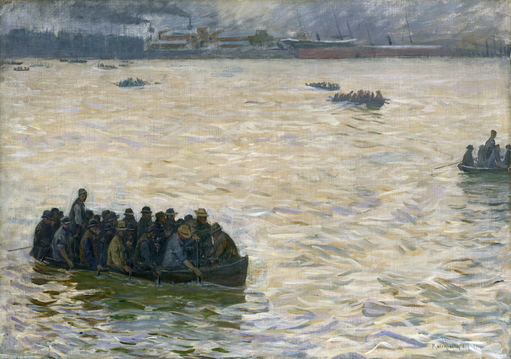 Shipyard Workers Returning Home on the Elbe, 1894  by Leopold Karl Walter von Kalckreuth