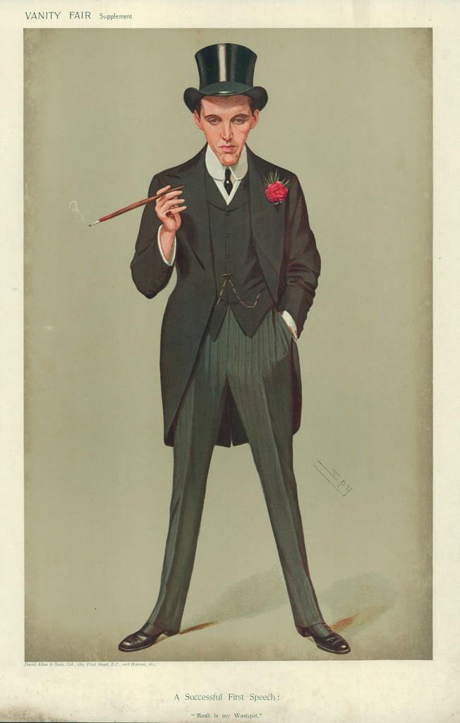 Mr F E Smith, A Successful First Speech, Moab is my Washpot, 16 January 1907, Vanity Fair cartoon  by Leslie Matthew Ward