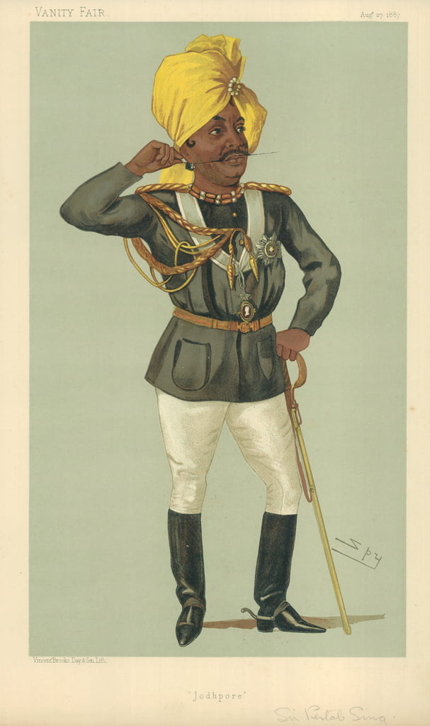 The Maraj Sir Pertab Sing, Jodhpore, 27 August 1887, Vanity Fair cartoon  by Leslie Matthew Ward