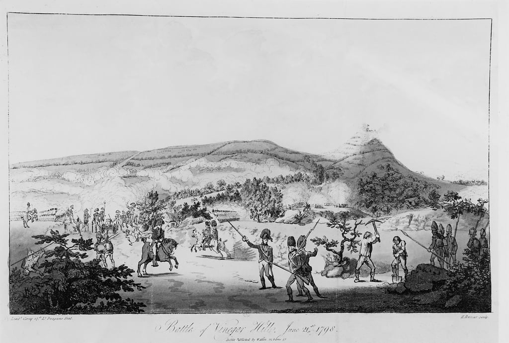 The Battle of Vinegar Hill, June 21st 1798, engraved by Henry Brocas (1762-1837)   (see 123758 for colour) by Lieutenant Carey
