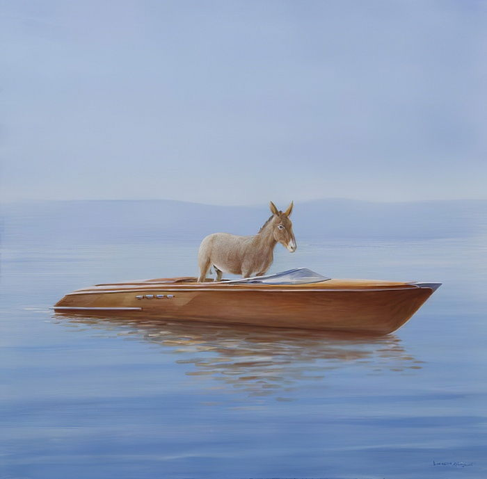 Donkey in a Riva, 2010 (acrylic on canvas) by Lincoln Seligman