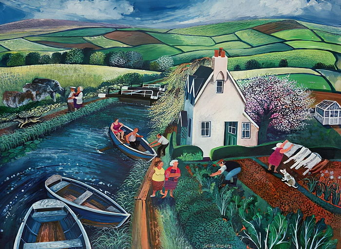 St Catherines Lock (ink and gouache on paper) by Lisa Graa Jensen