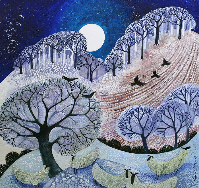 First Snow Surrey Hills (acrylic ink)_ by Lisa Graa Jensen