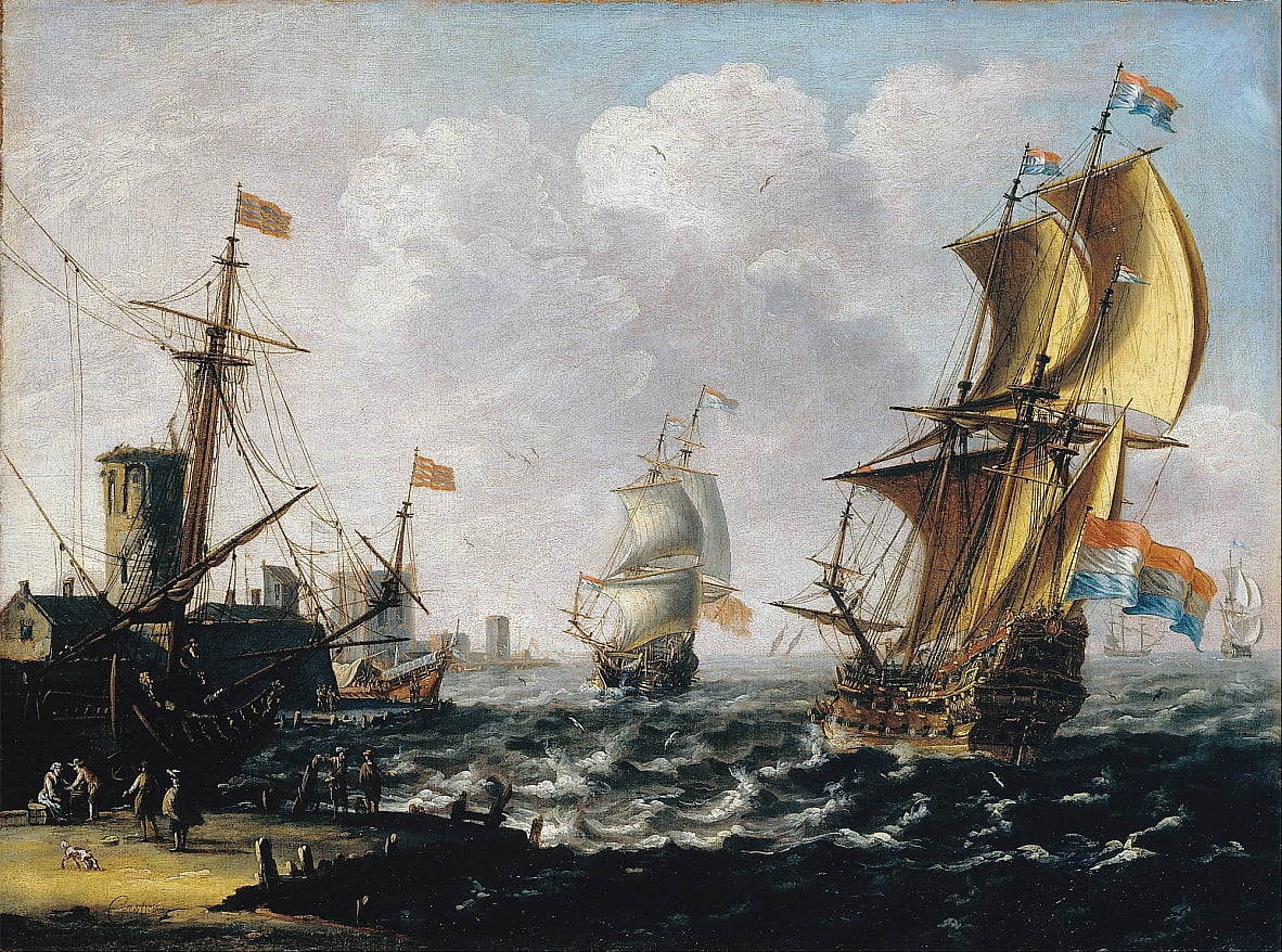 Dutch Levanters in a Rough Sea by Lorenzo a Castro