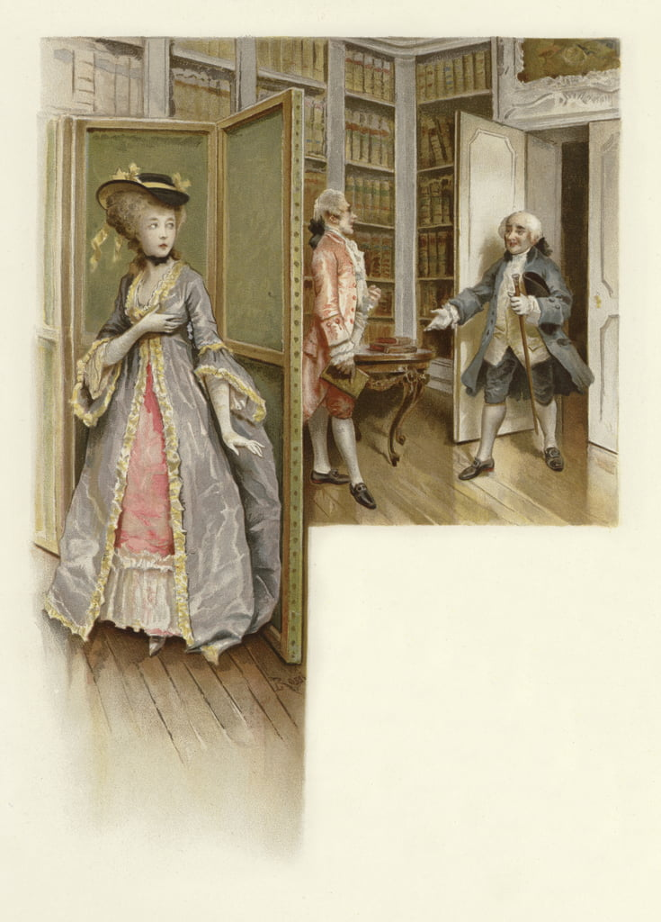 Illustration for The School for Scandal (chromolitho) by Lucius Rossi