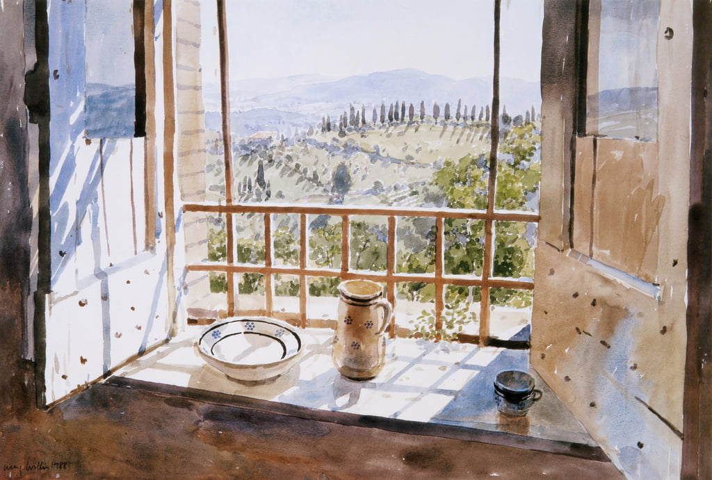 View from a Window, 1988 (wc on paper) by Lucy Willis