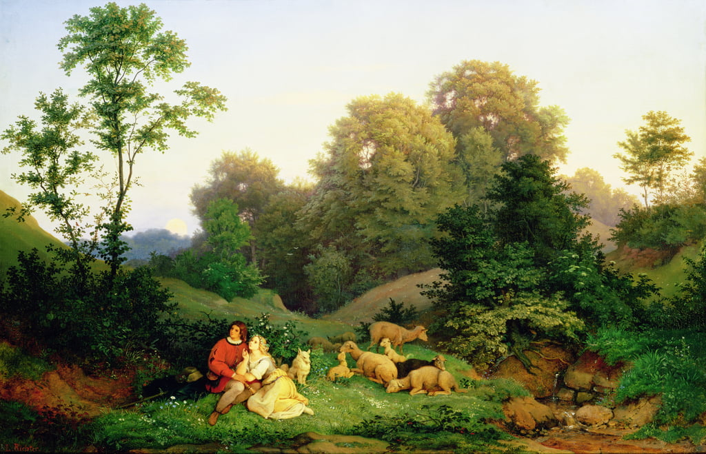 Shepherd and Shepherdess in a German landscape, 1844  by Ludwig Adrian Richter