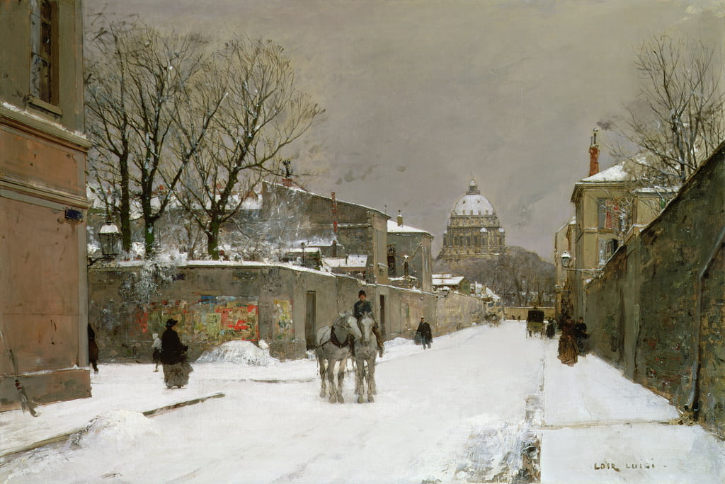 Winter Scene near Les Invalides, Paris by Luigi Loir