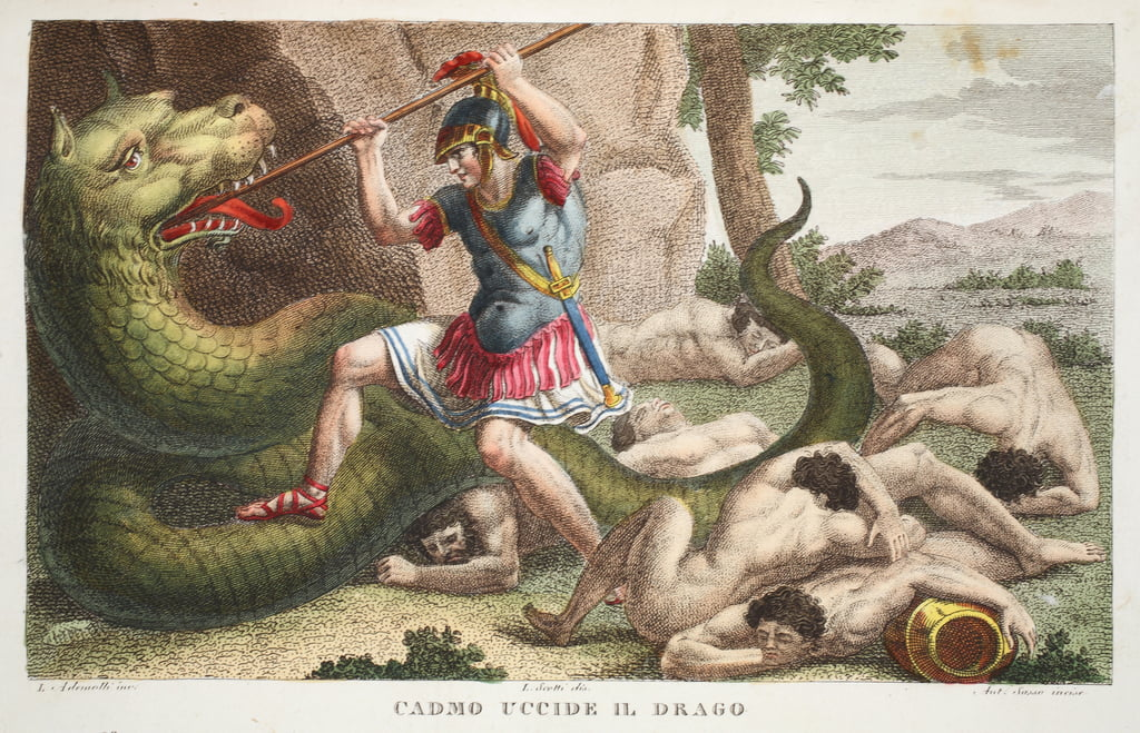 Cadmus kills the Dragon or Cadmo uccide il Drago, illustration from Ovid