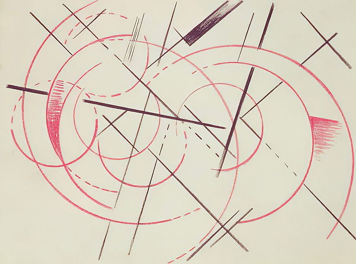 Constructivist Composition, 1922 (red and black crayon on paper) by Lyubov Sergeevna Popova