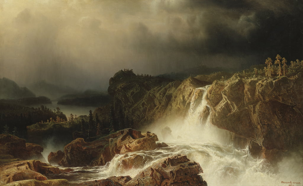 Rocky Landscape with Waterfall in Smaland, 1859  by Marcus Larson