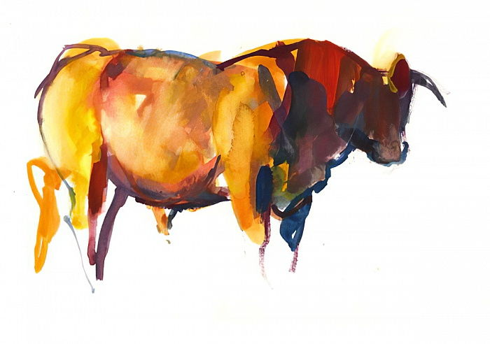 Sunset Bull, 2010 (watercolour and gouache on paper) by Mark Adlington