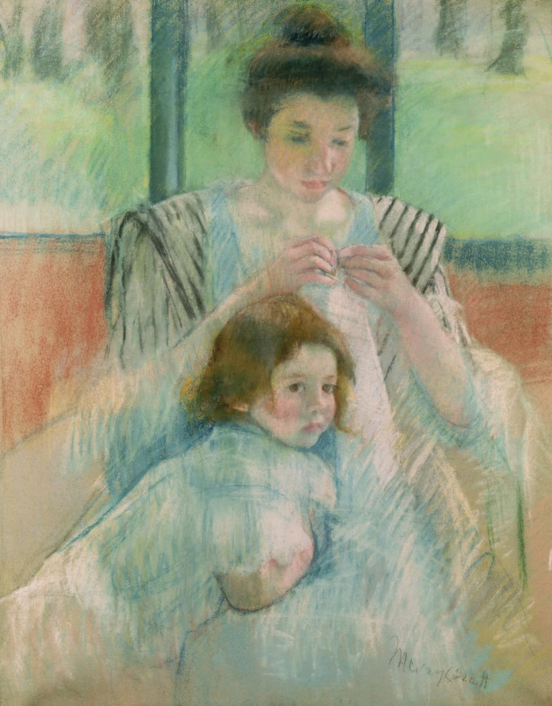 Mother and child (pastel on paper) by Mary Cassatt