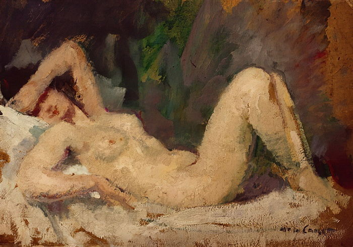 Reclining Nude  by Mary Cassatt