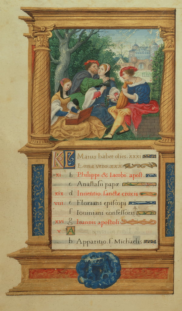 MS W.449 fol.6v May Making Music, c.1525  by Master Jean de Mauleon