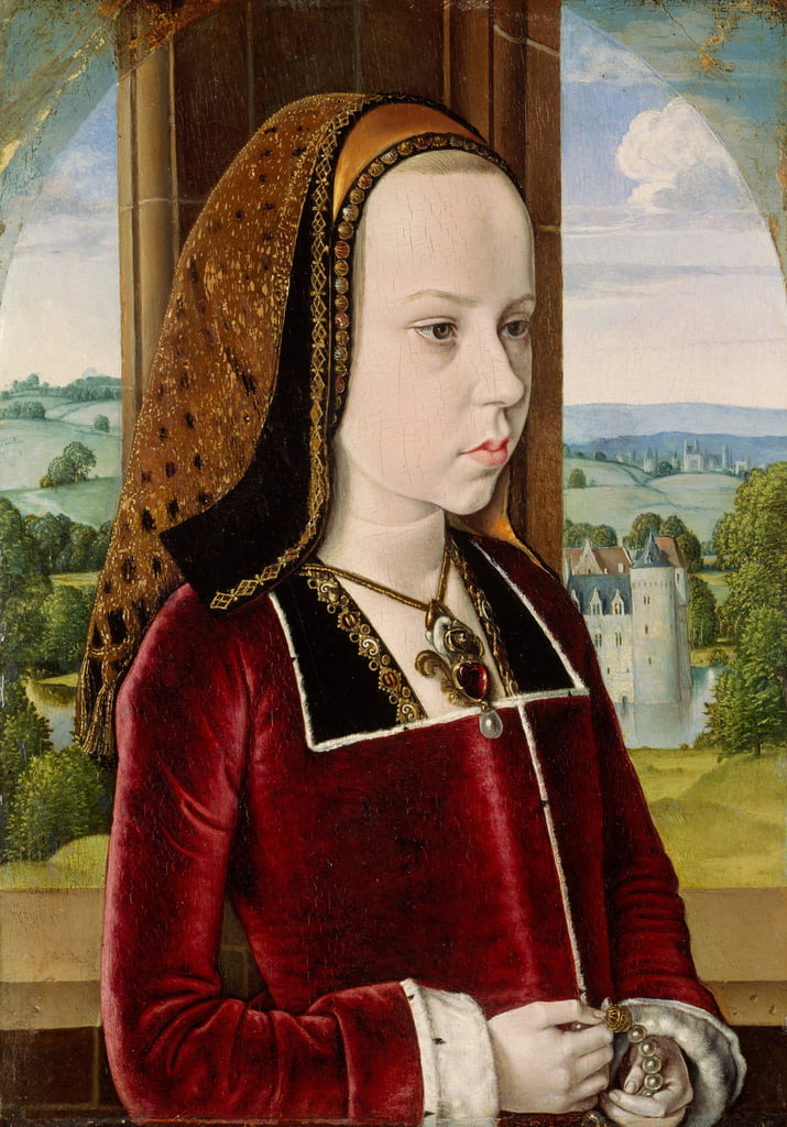 Portrait of Margaret of Austria, c.1490 (oil on oak panel) by Master of Moulins