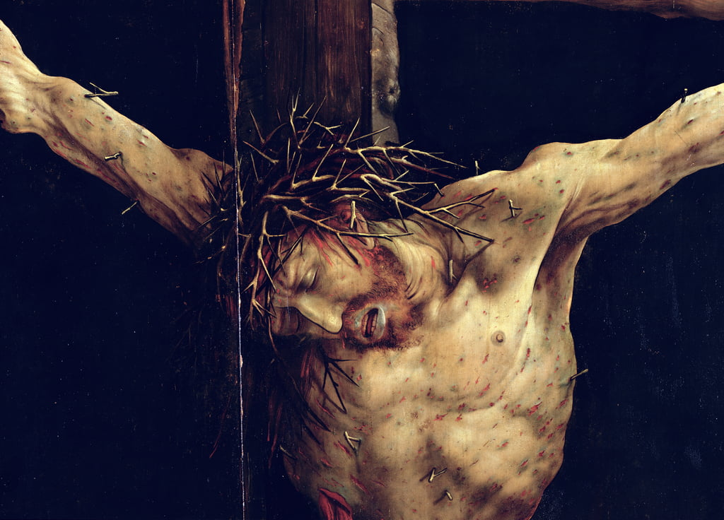 The Face of Christ, detail from the Crucifixion from the Isenheim Altarpiece, c.1512-16  by Matthias Grünewald