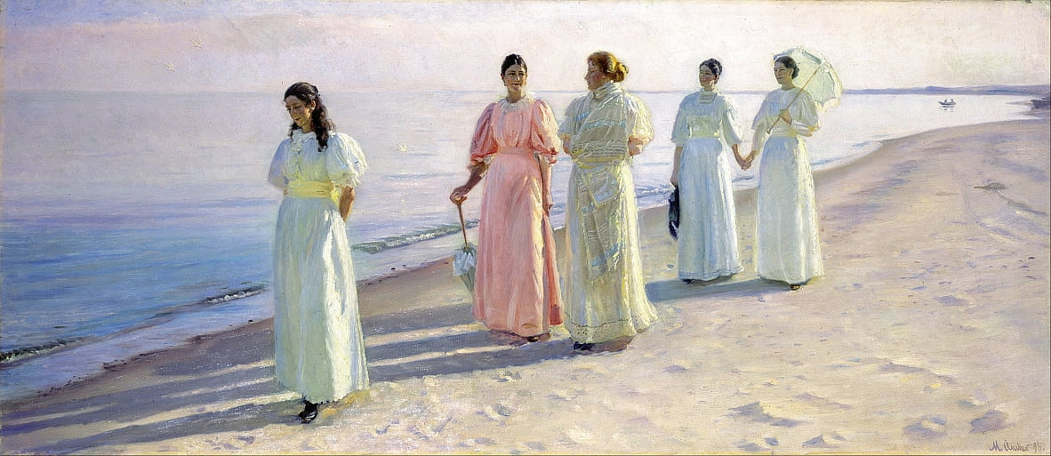 A stroll on the beach by Michael Peter Ancher