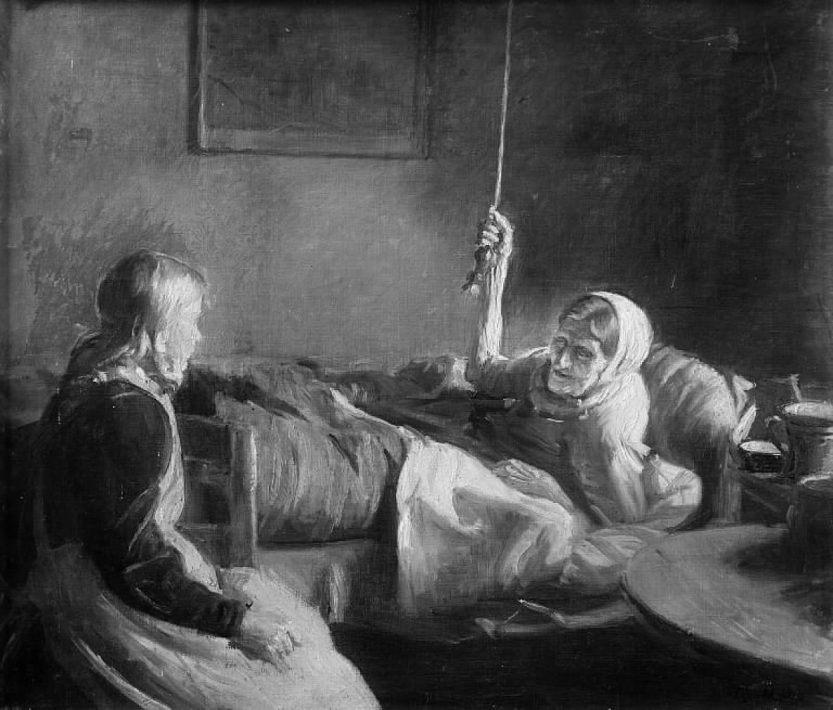 Old Woman in Bedn  by Michael Peter Ancher