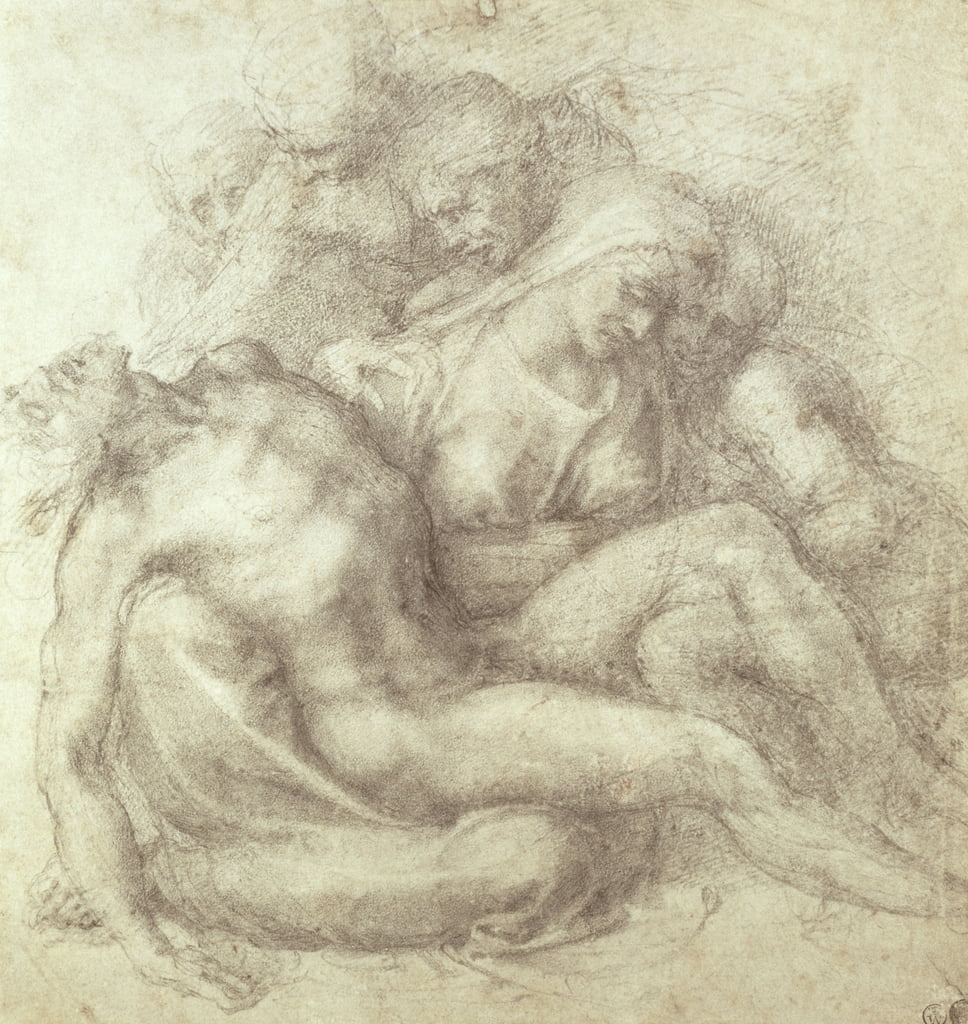 Figures Study for the Lamentation Over the Dead Christ, 1530 (black chalk on paper) by Michelangelo Buonarroti