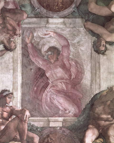 God Dividing Light from Darkness, from the Sistine Chapel Ceiling, 1508-12  (pre-restoration) by Michelangelo Buonarroti