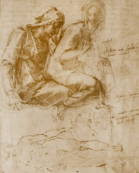 Saint Anne, the Virgin and Child and a study of a nude man by Michelangelo Buonarroti