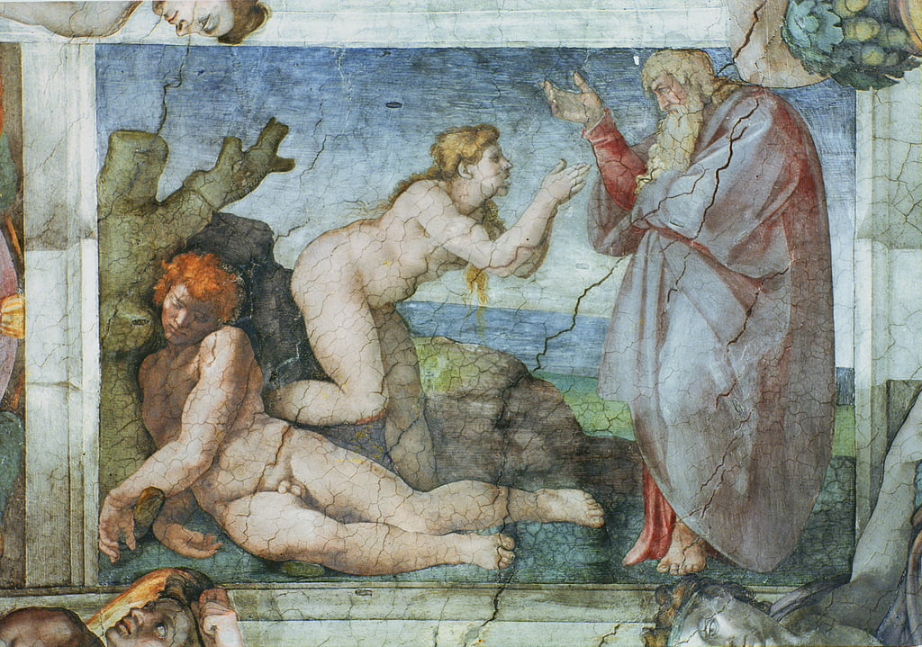 Sistine Chapel ceiling: Creation of eve, with four Ignudi, 1511  (pre restoration) by Michelangelo Buonarroti