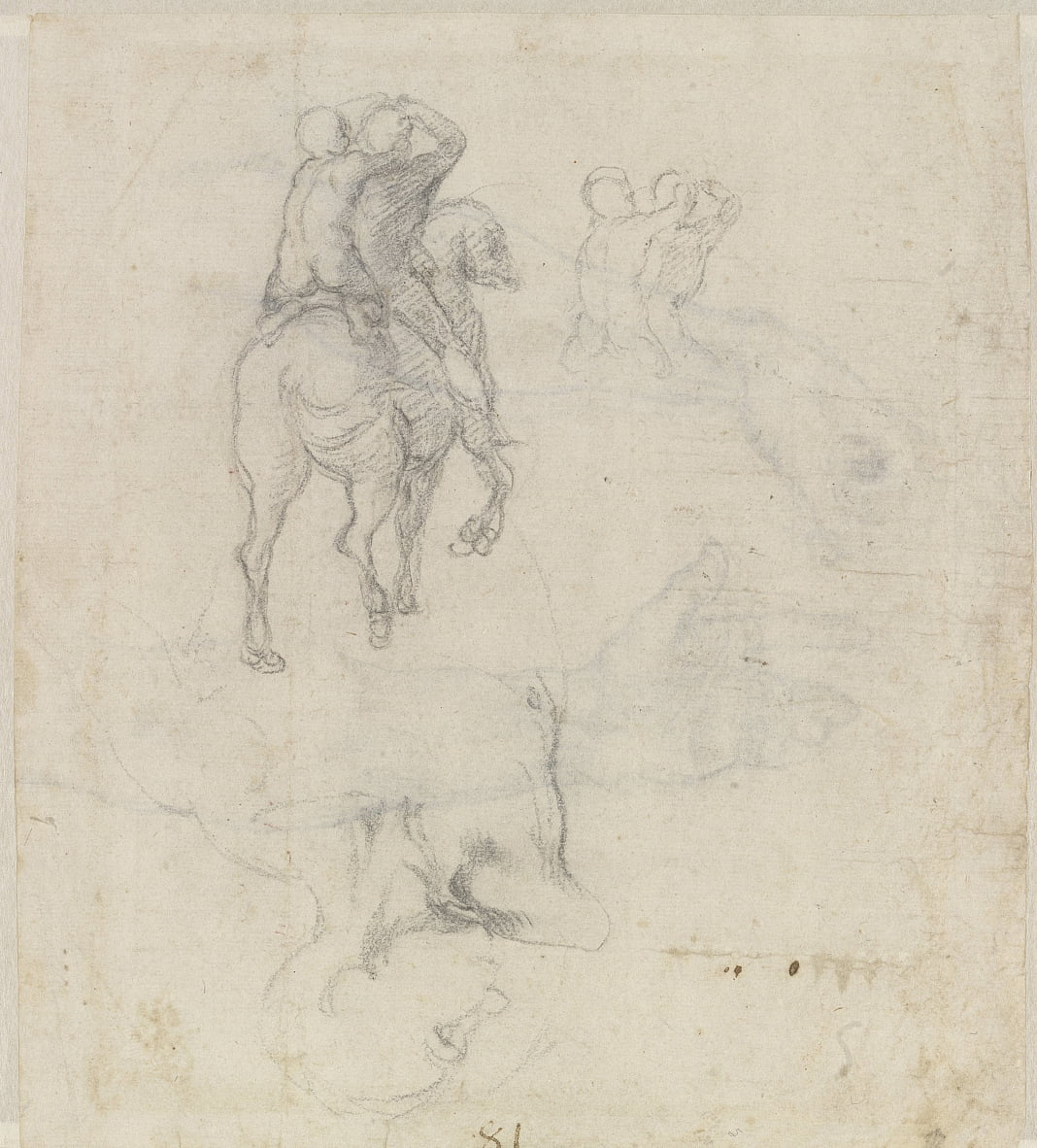 Studies of a Horse with Two Nude Riders and a Male Torso by Michelangelo Buonarroti