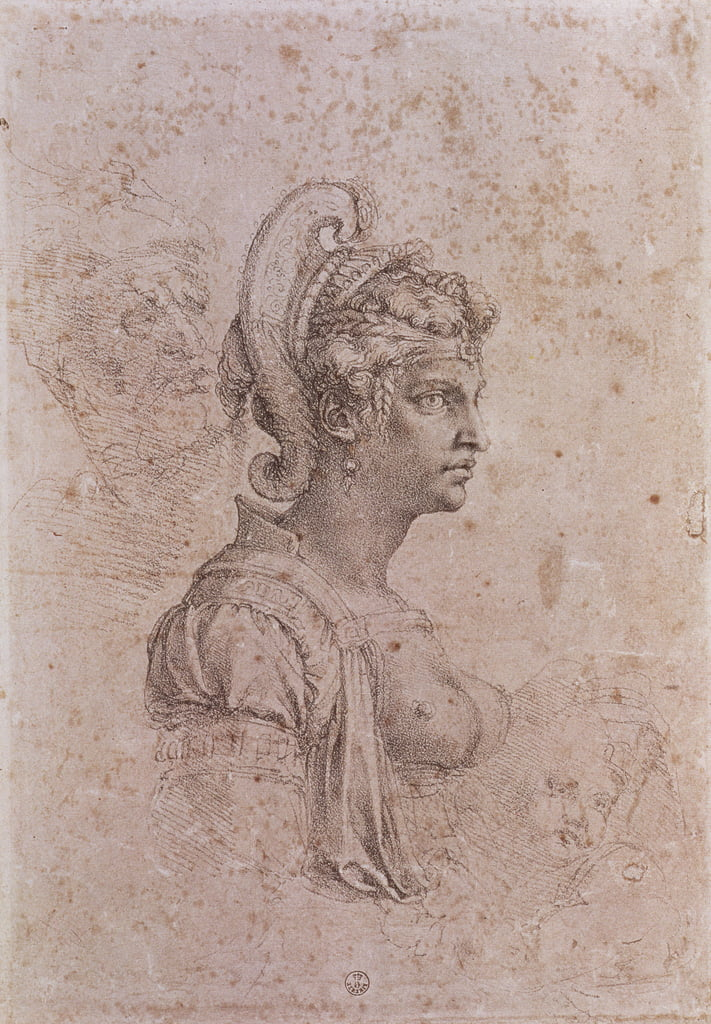 Zenobia, Queen of Palmyra, Syria (3rd century AD) (charcoal on paper) by Michelangelo Buonarroti