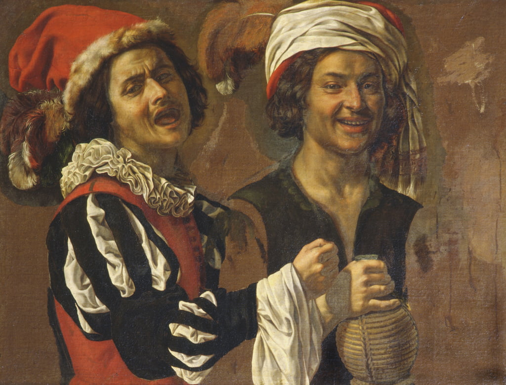 A Singer and a Drinker  by Michelangelo Merisi Caravaggio