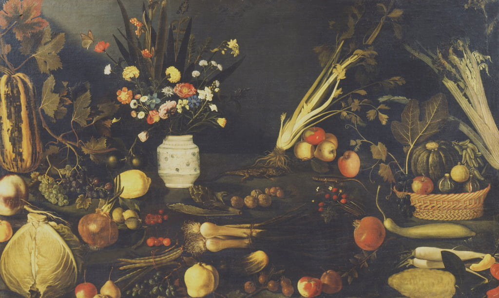 Still life of flowers, fruit and vegetables, c.1594  by Michelangelo Merisi Caravaggio