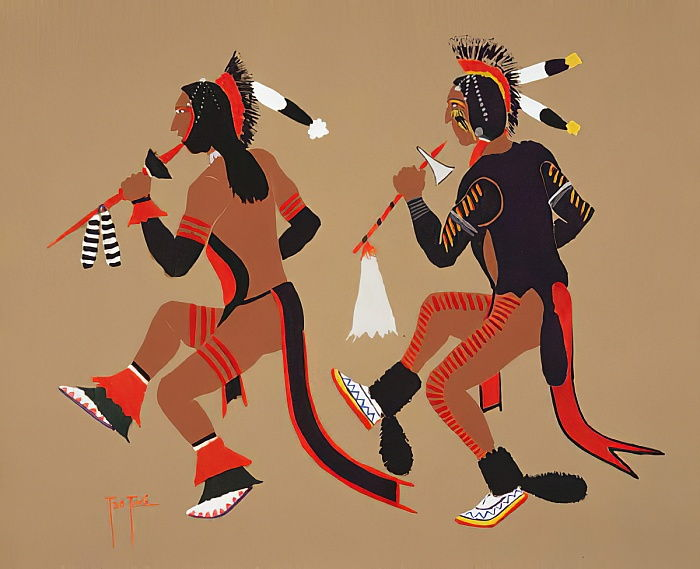 Dance of Dog Soldiers (pochoir print) by Monroe Tsatoke