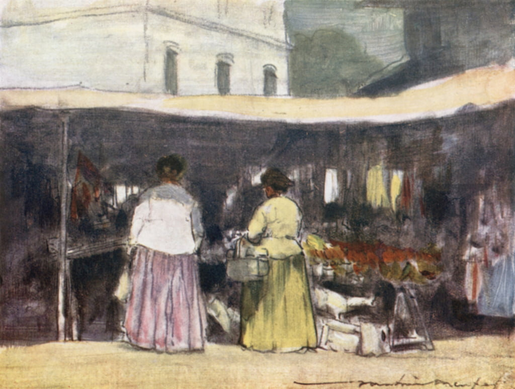A Fish Stall at Neuilly by Mortimer Ludington Menpes