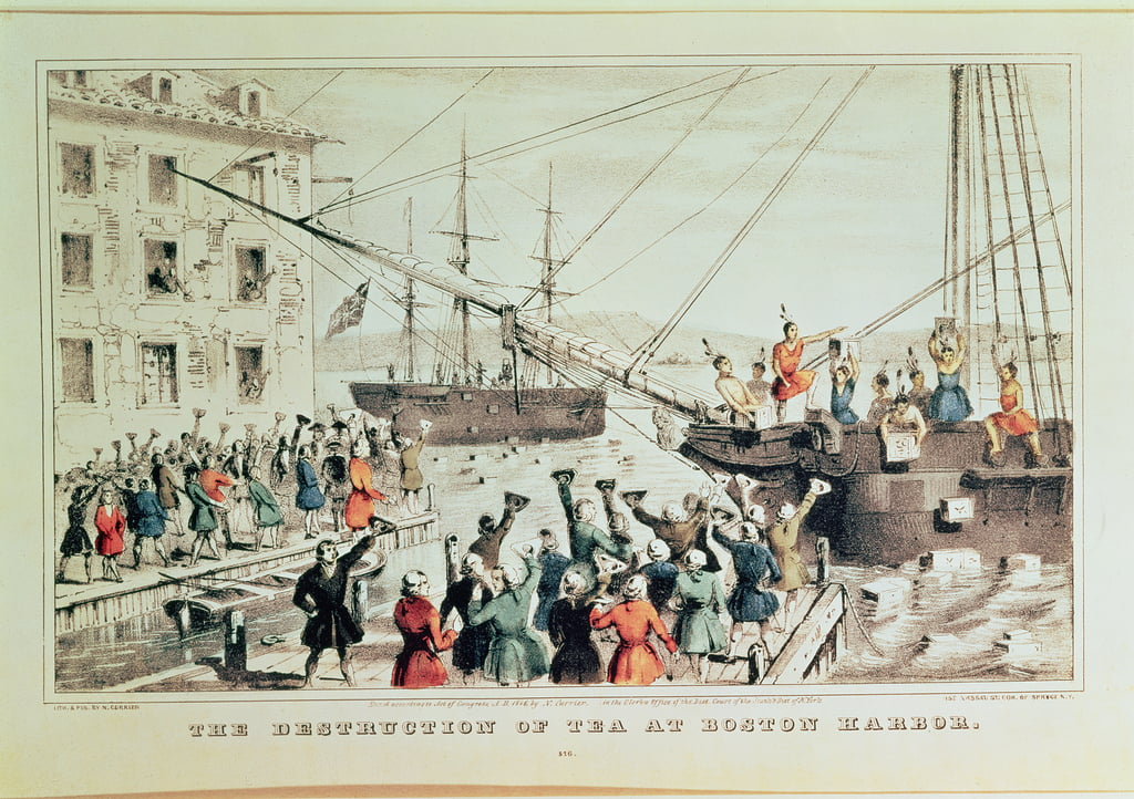 The Boston Tea Party, 1846 (print) by N. and Ives, J.M. Currier