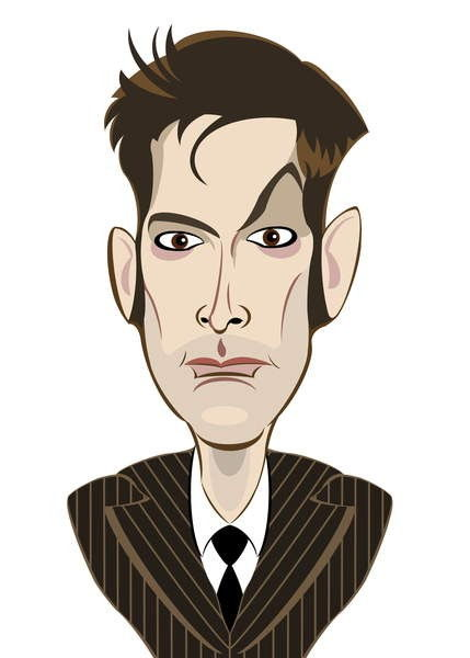 David Tennant as Doctor Who - caricature by Neale Osborne
