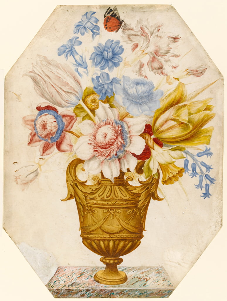 Flowers in a vase which stands on a marble ledge with a butterfly resting on the flower (wc und gouache on vellum) by Nicolas Robert