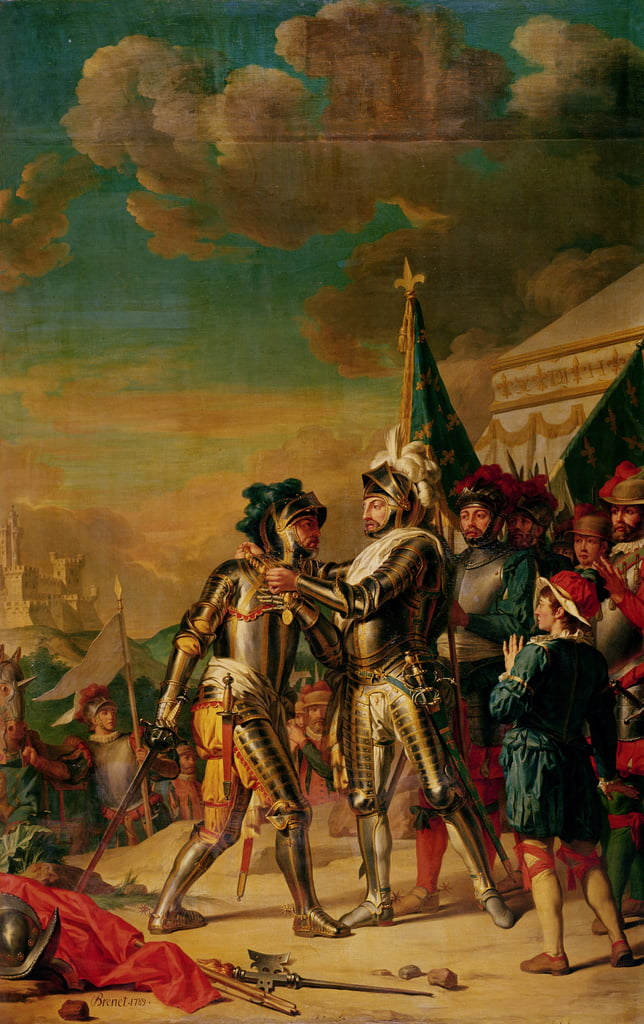 Henri II (1519-59) Giving the Chain of the Order of Saint-Michel to Gaspard de Saulx (1509-73) Count of Tavannes, after the Battle of Renty, 13th August 1554, 1789  by Nicolas Guy Brenet