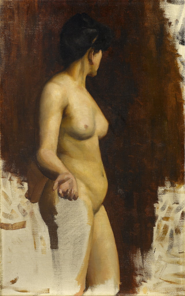 Female standing nude, three-quarter view, 1890s  by Norman Hirst