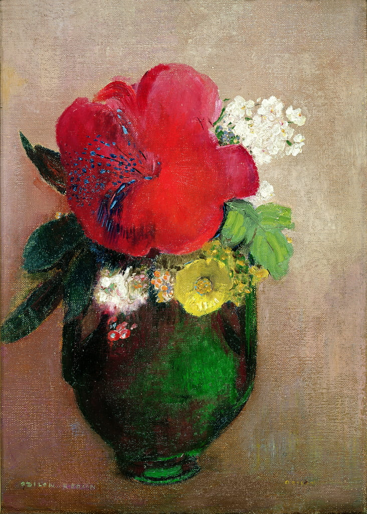 The Red Poppy  by Odilon Redon
