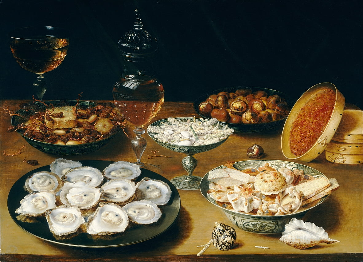 Dishes with Oysters, Fruit, and Wine by Osias Beeret