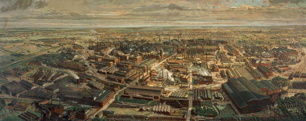 Birds-eye view of the Krupp factory with the city of Essen in the background, printed by E. Nister, Nuremberg, 1912  by Otto Bollhagen