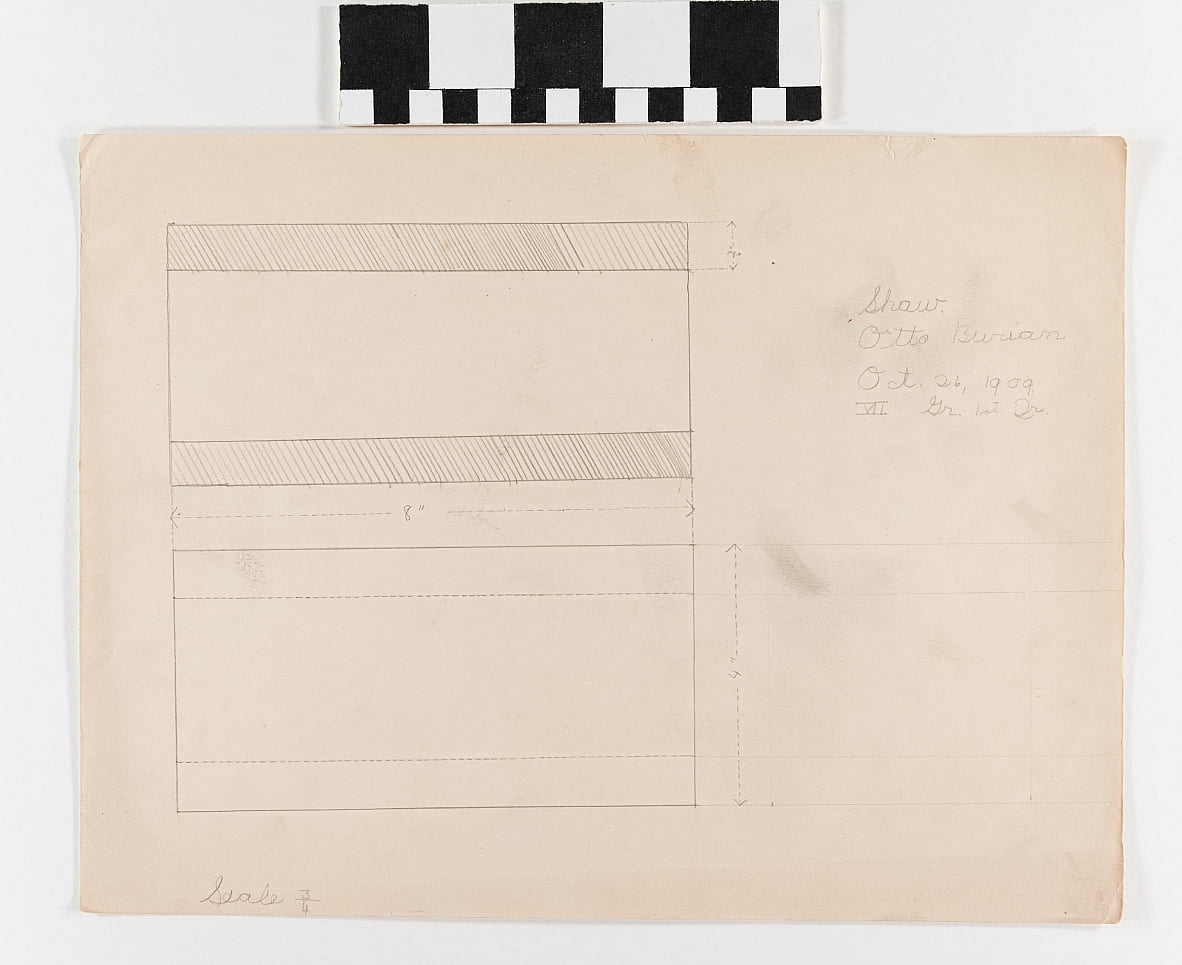 Pencil drawing on paper of two rectangles with measurements by Otto Burian