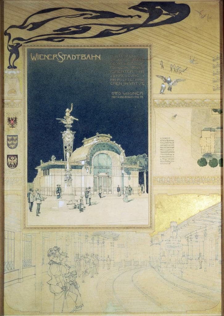 The Stadtbahn Pavilion of the Vienna Underground Railway, design showing the exterior and a view of the railway platform, c.1894-97 (coloured pencil) by Otto Wagner