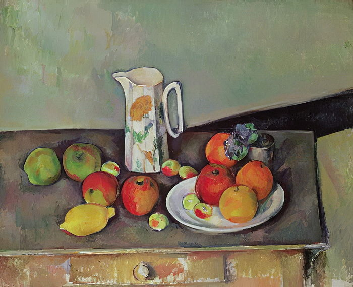 Still life with milk jug and fruit, c.1886-90  by Paul Cézanne